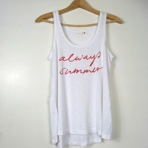 Sundry Always Summer White Slub Tank